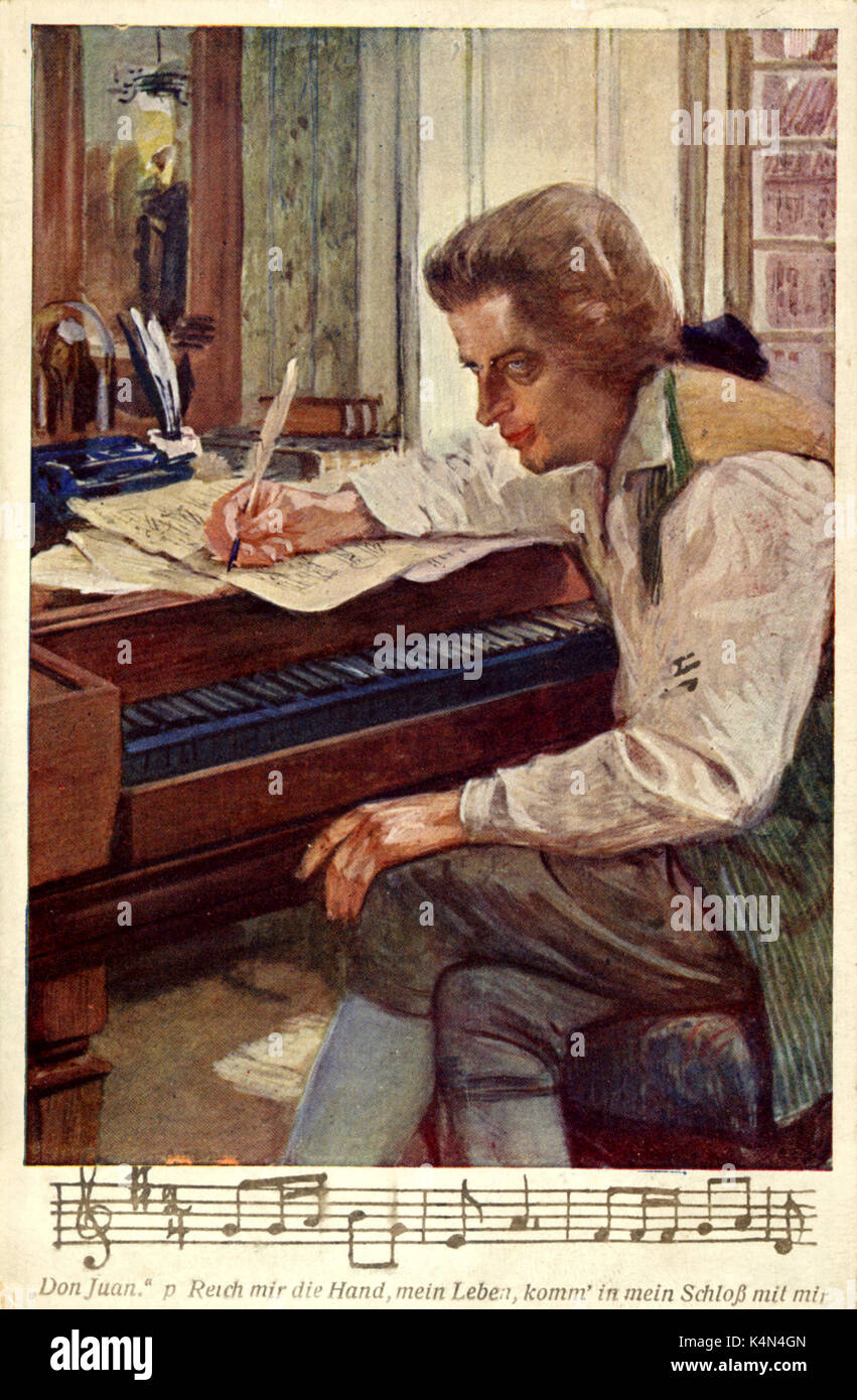 Wolfgang Amadeus Mozart Austrian Poser Posing At Piano Don