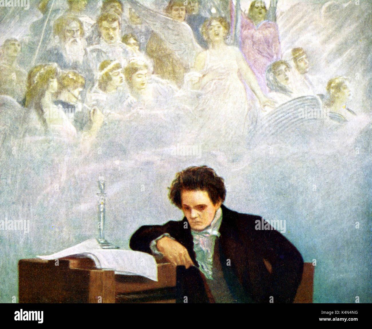 Ludwig van  Beethoven.  Portrait by Hans Temple(1857-1931).  L van B: German composer, 17 December  1770- 26 March 1827 - Stock Image