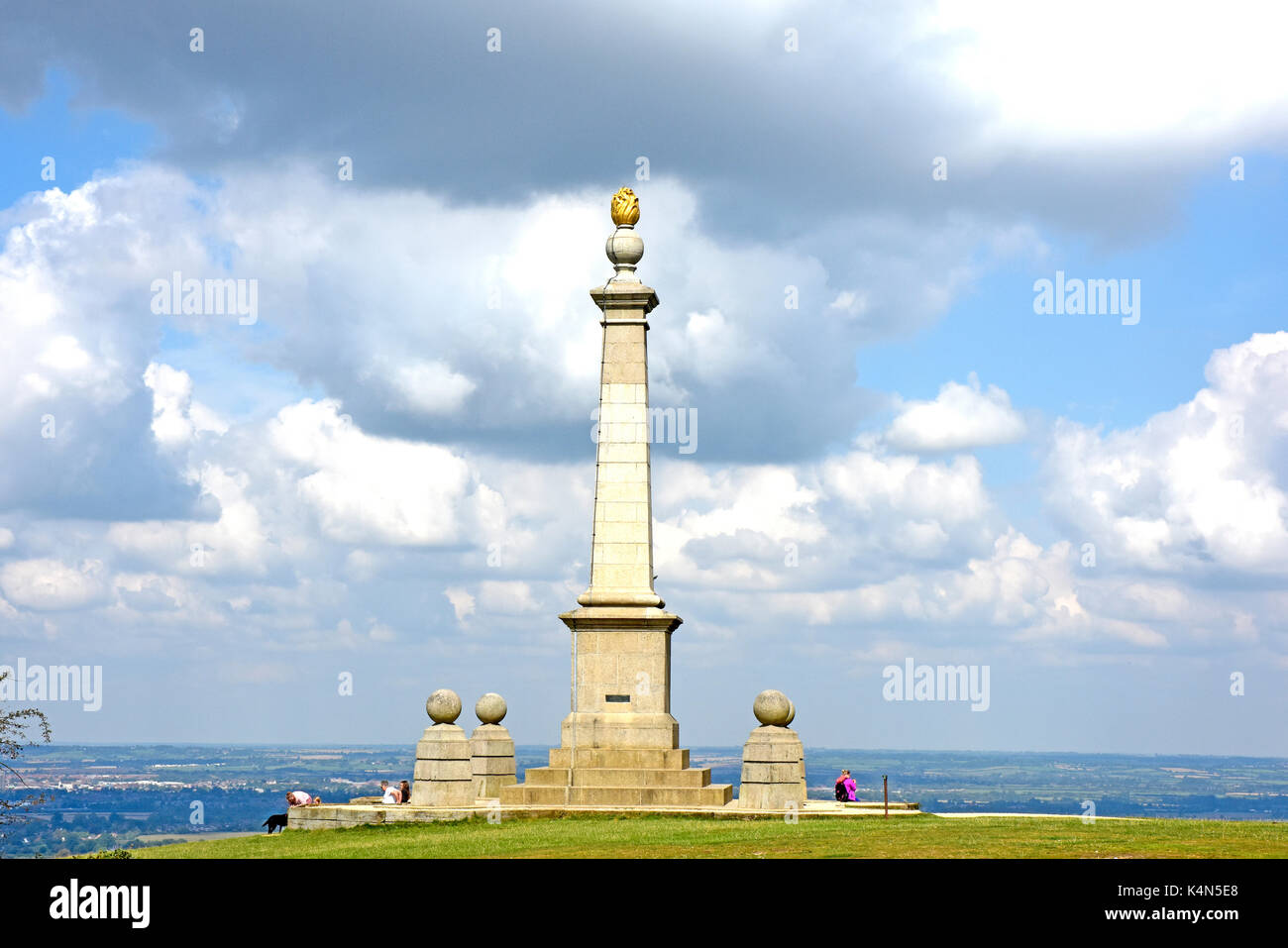 Chiltern Hills -summit Coombe Hill - South African war memorial - viewpoint over Aylesbury Plain - sunlight - cloud flecked sky - Stock Image