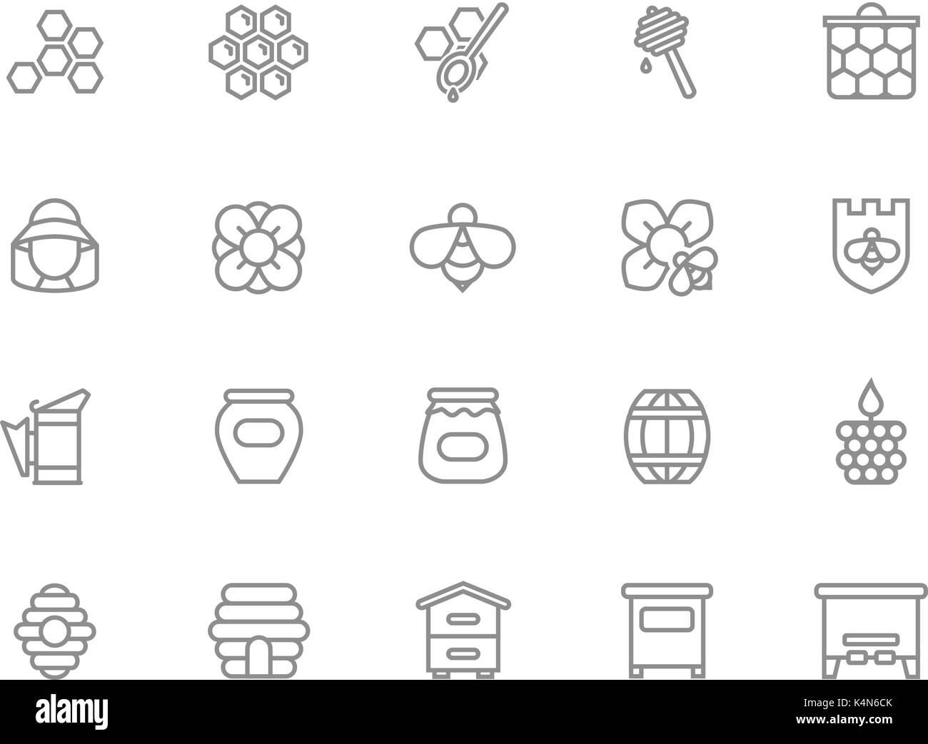 Set of vector honey line icons. Bee, honeycomb, barrel, beekeeper, dipper, jar, flower, beehive, pot, hexagon, beeswax, spoon and more. Editable Stroke. - Stock Image