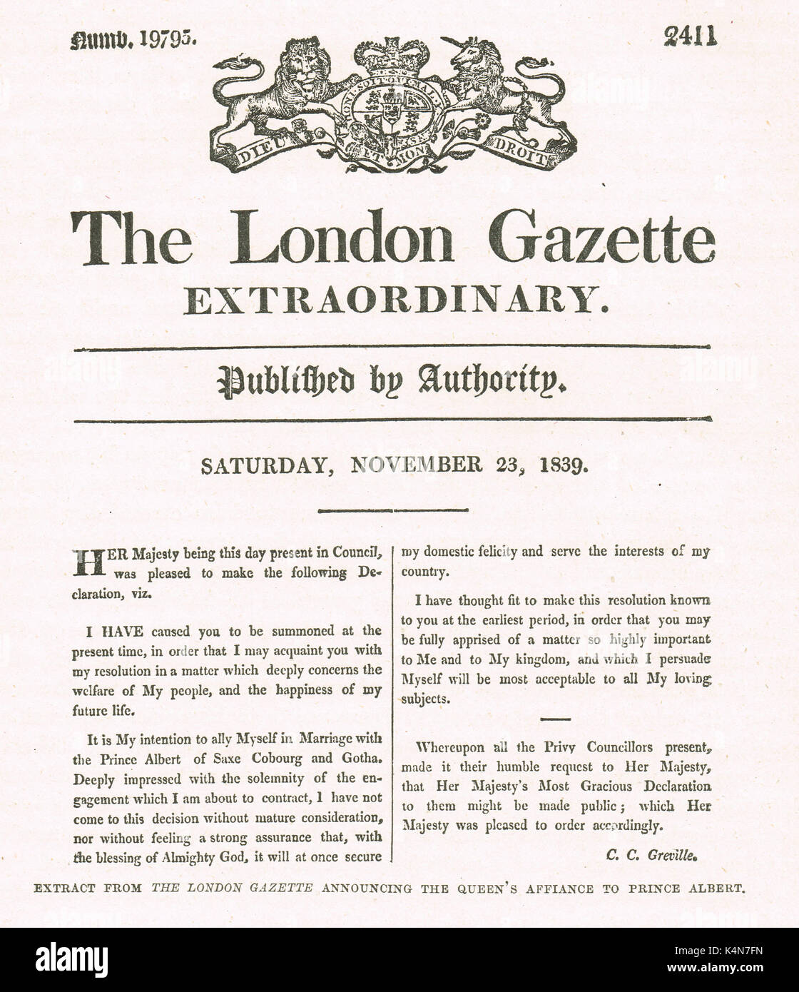 Queen Victoria & Prince Albert Engagement announcement, London gazette, November 23 1839 - Stock Image