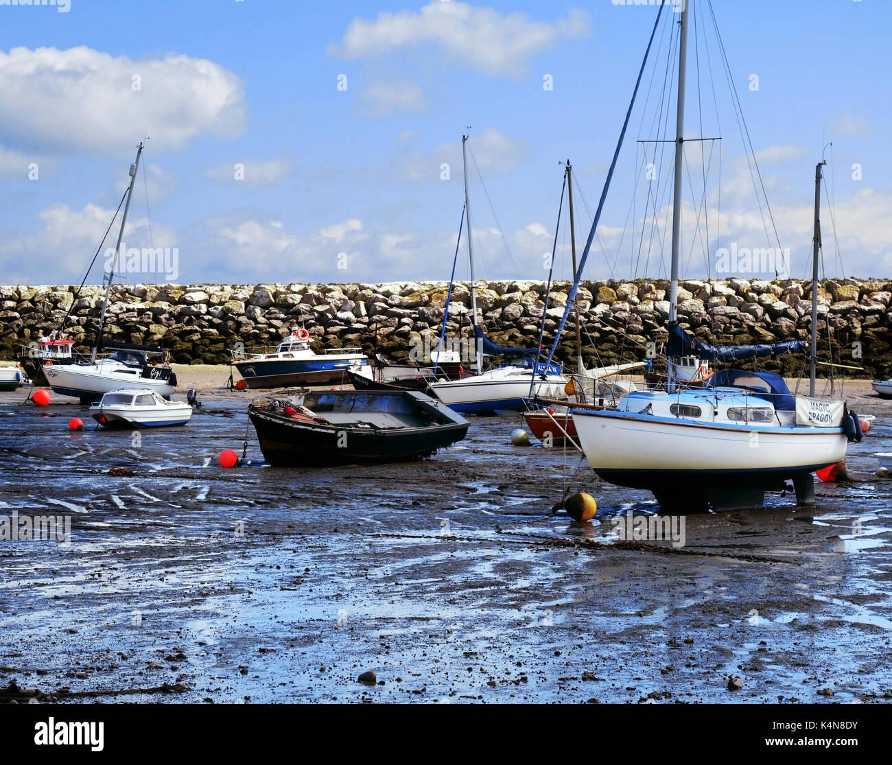 boats and yachts at Rhos on Sea Stock Photo