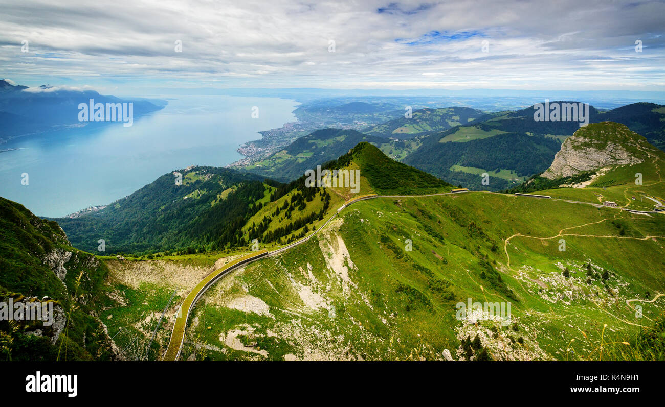 View from Rocher de Naye, Switzerland, towards Lake Leman. - Stock Image