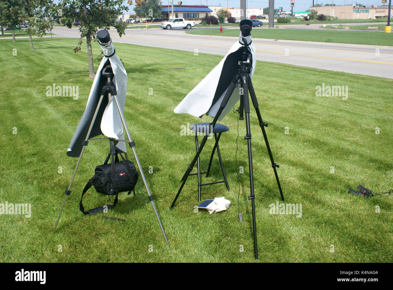 Camera set-up for filming the solar eclipse - Stock Image