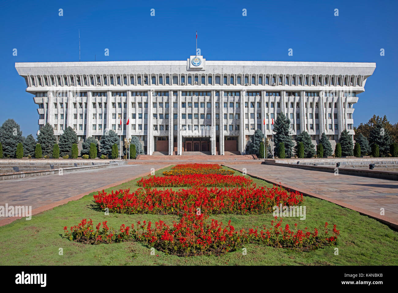 The White House, presidential office building built in Stalinist modern style in Bishkek, Kyrgyzstan - Stock Image