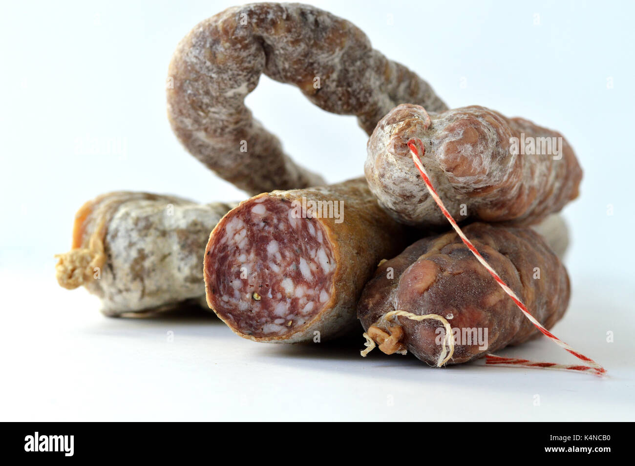 An assortment of French charcuterie. Sausage. - Stock Image