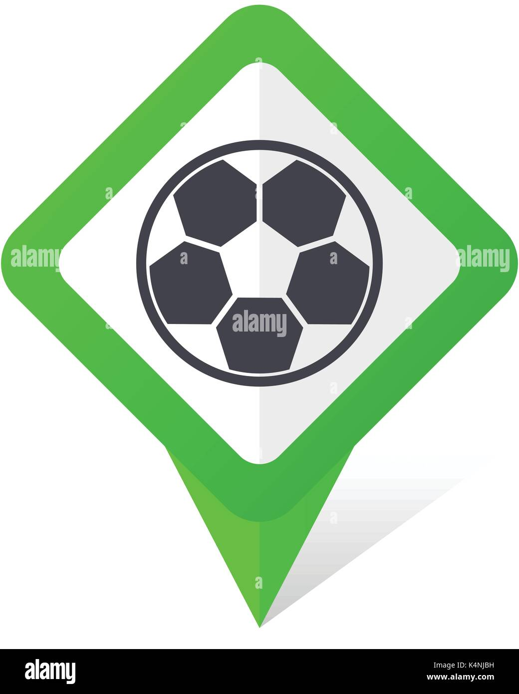 Soccer green square pointer vector icon in eps 10 on white background with shadow. - Stock Vector