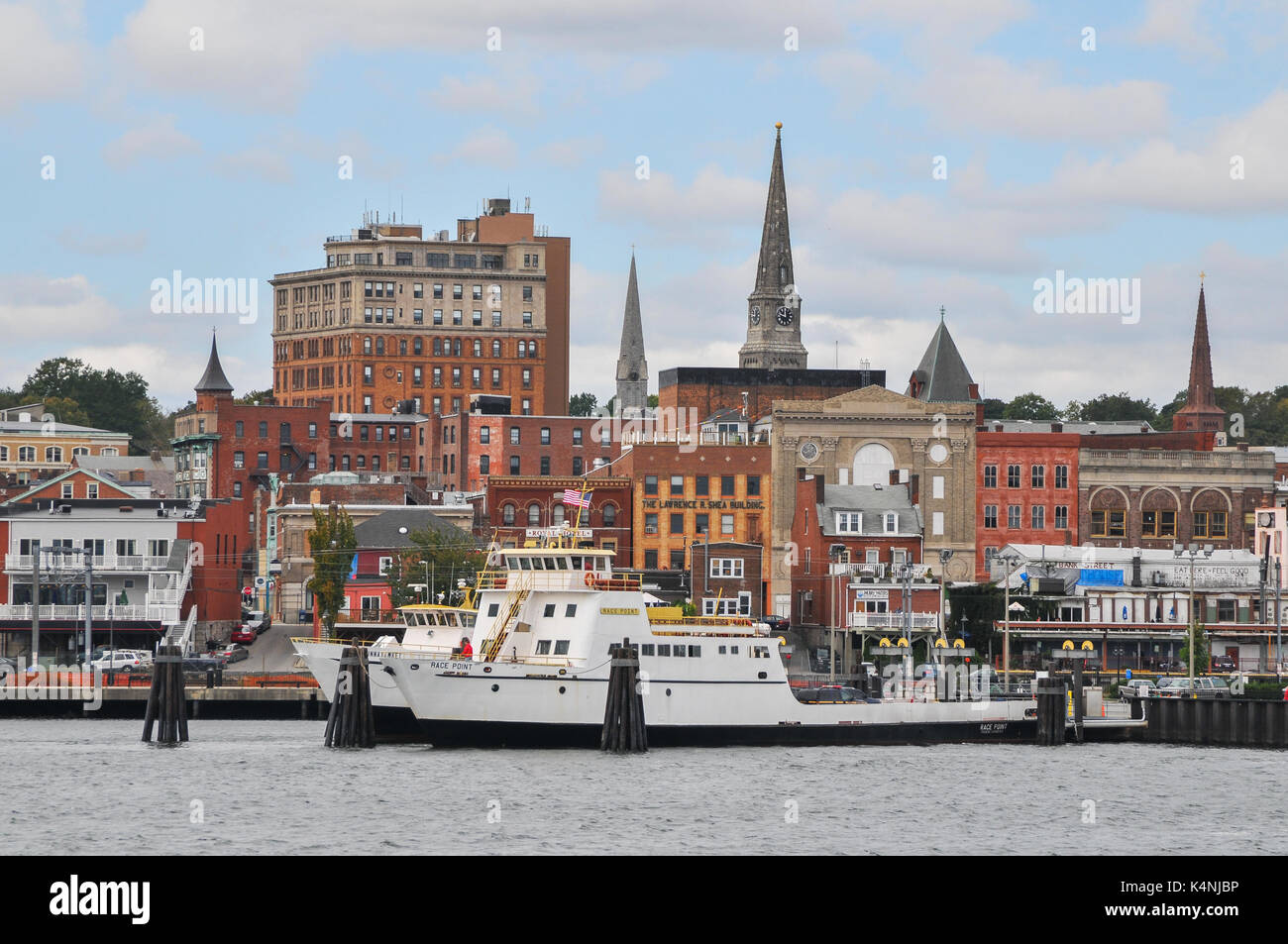 New London, Connecticut seen from Long Island Ferry - Stock Image