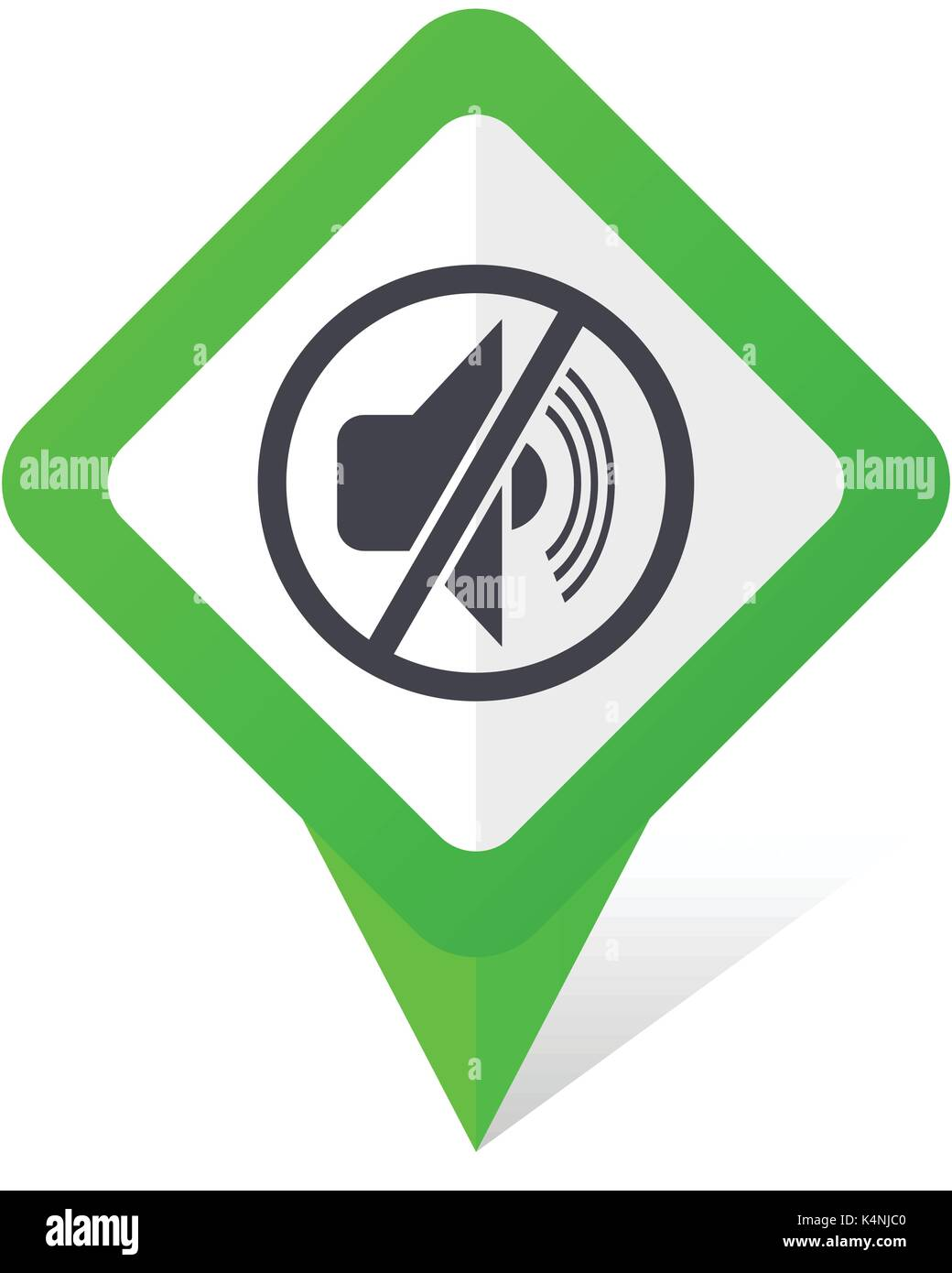 Mute green square pointer vector icon in eps 10 on white background with shadow. - Stock Image