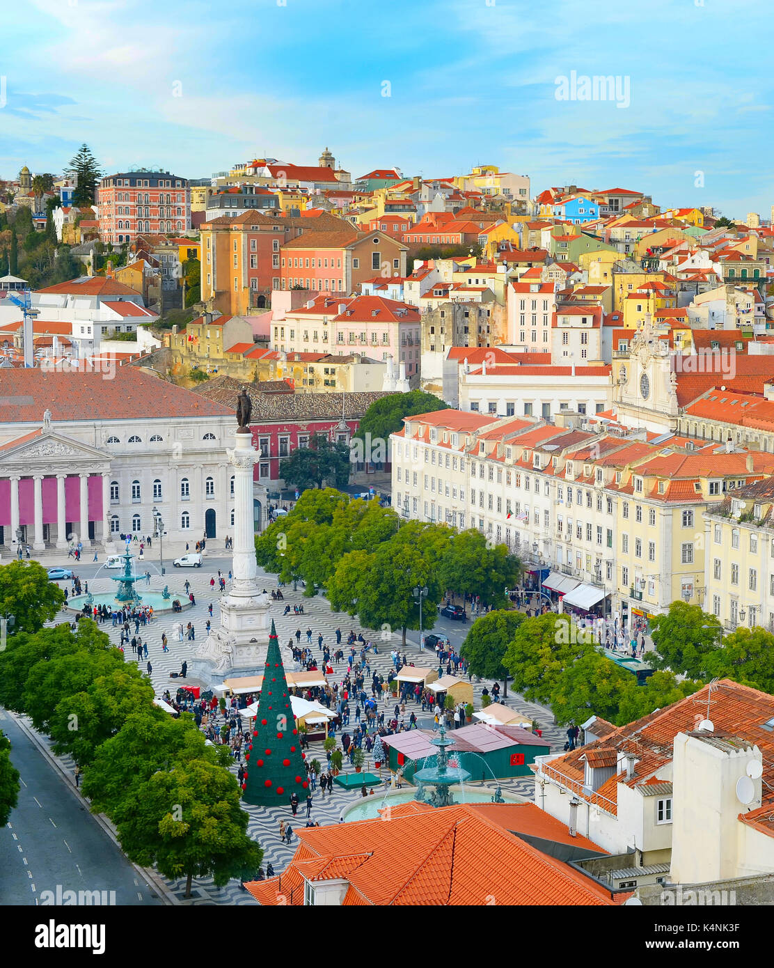 Aerial view of Rossio square in Old Town of Lisbon, Portugal - Stock Image