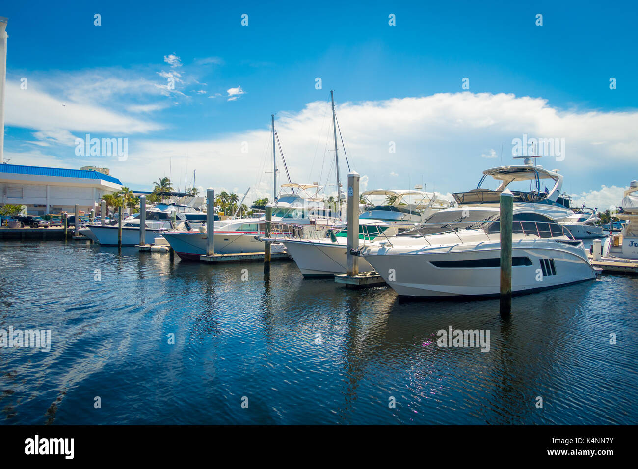 FORT LAUDERDALE, USA - JULY 11, 2017: A line of boats displayed for sale at the Fort Lauderdale. Stock Photo