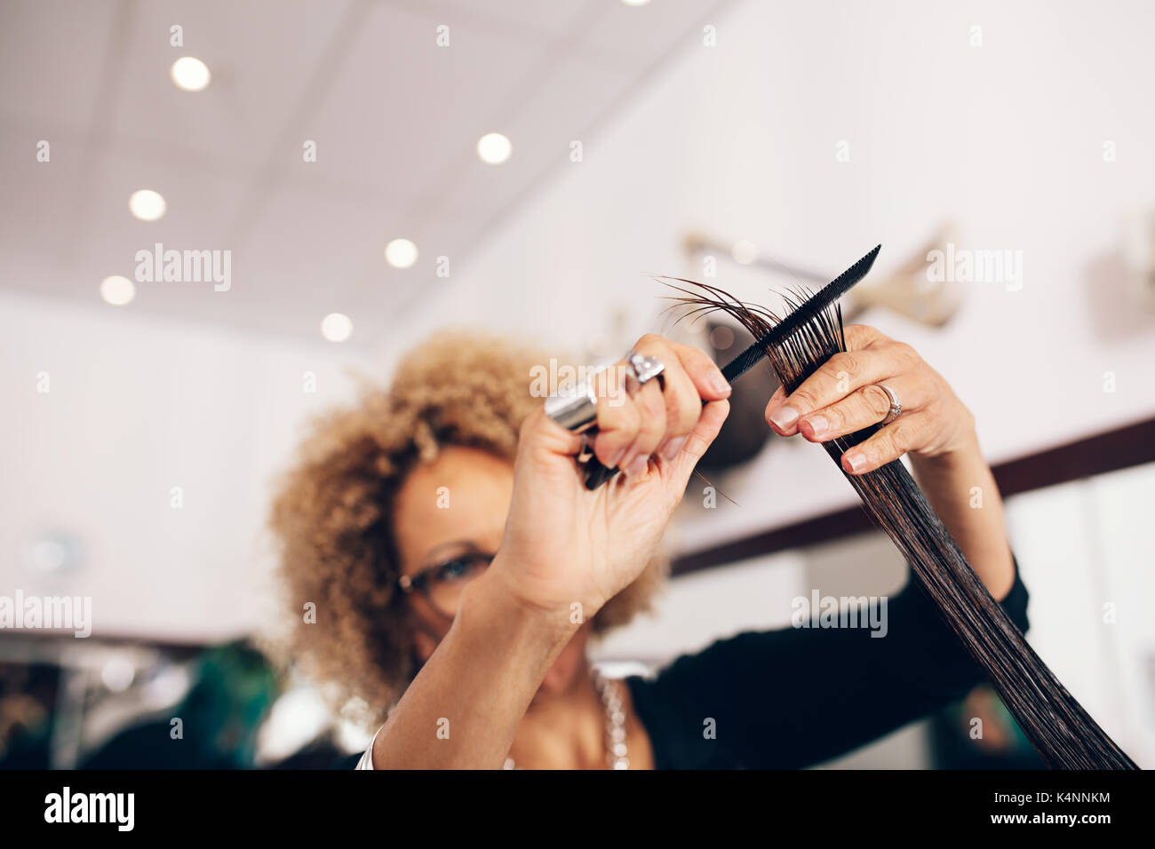 Hairdresser holding a strand of combed hair in between her fingers. Hairdresser combing hair in order to cut them in a level. - Stock Image
