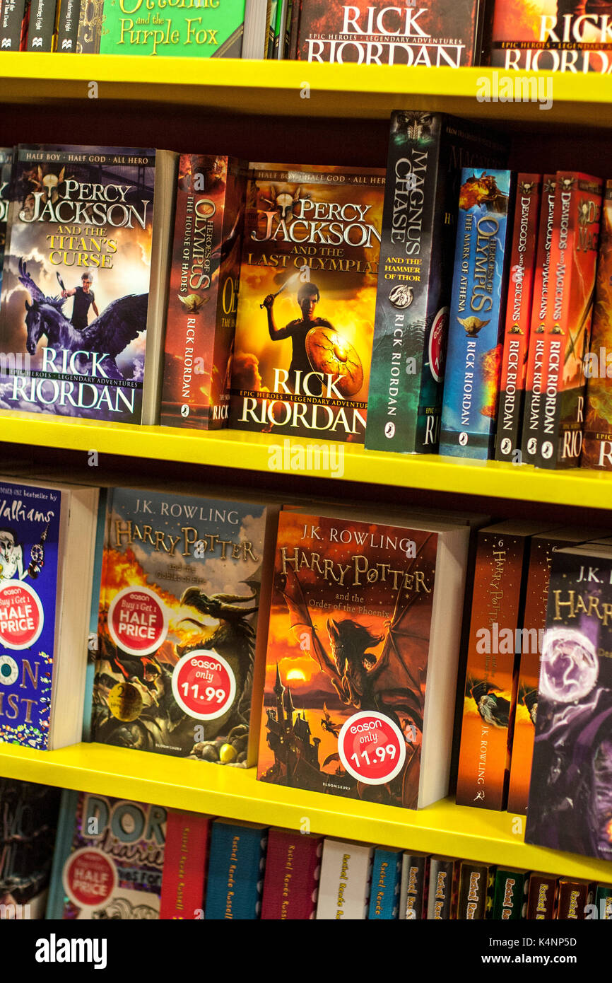 Harry Potter Percy Jackson Books On A Shelf Display In Bookshop Dublin