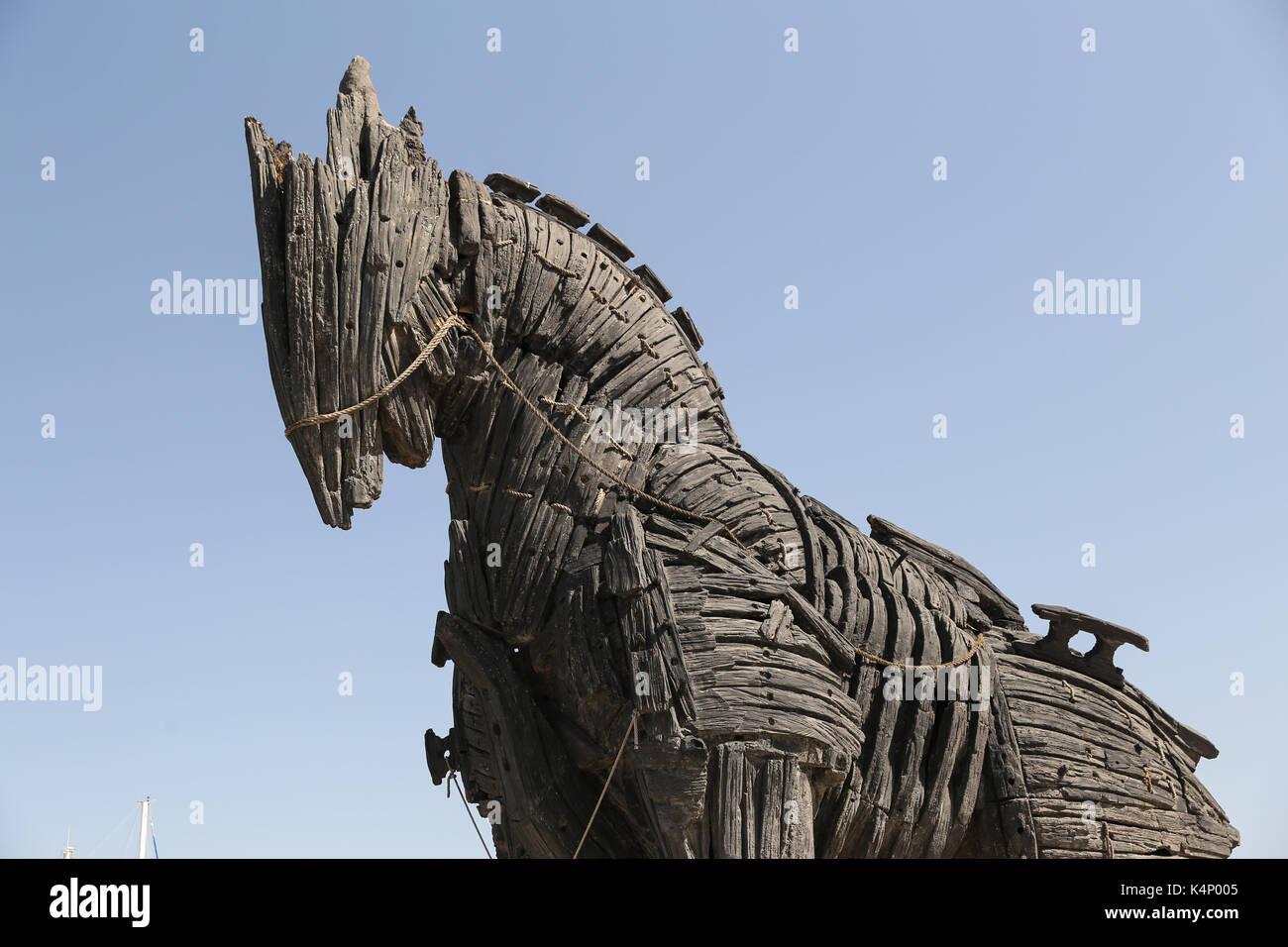 Trojan Horse in movie Troy in Canakkale City, Turkey Stock