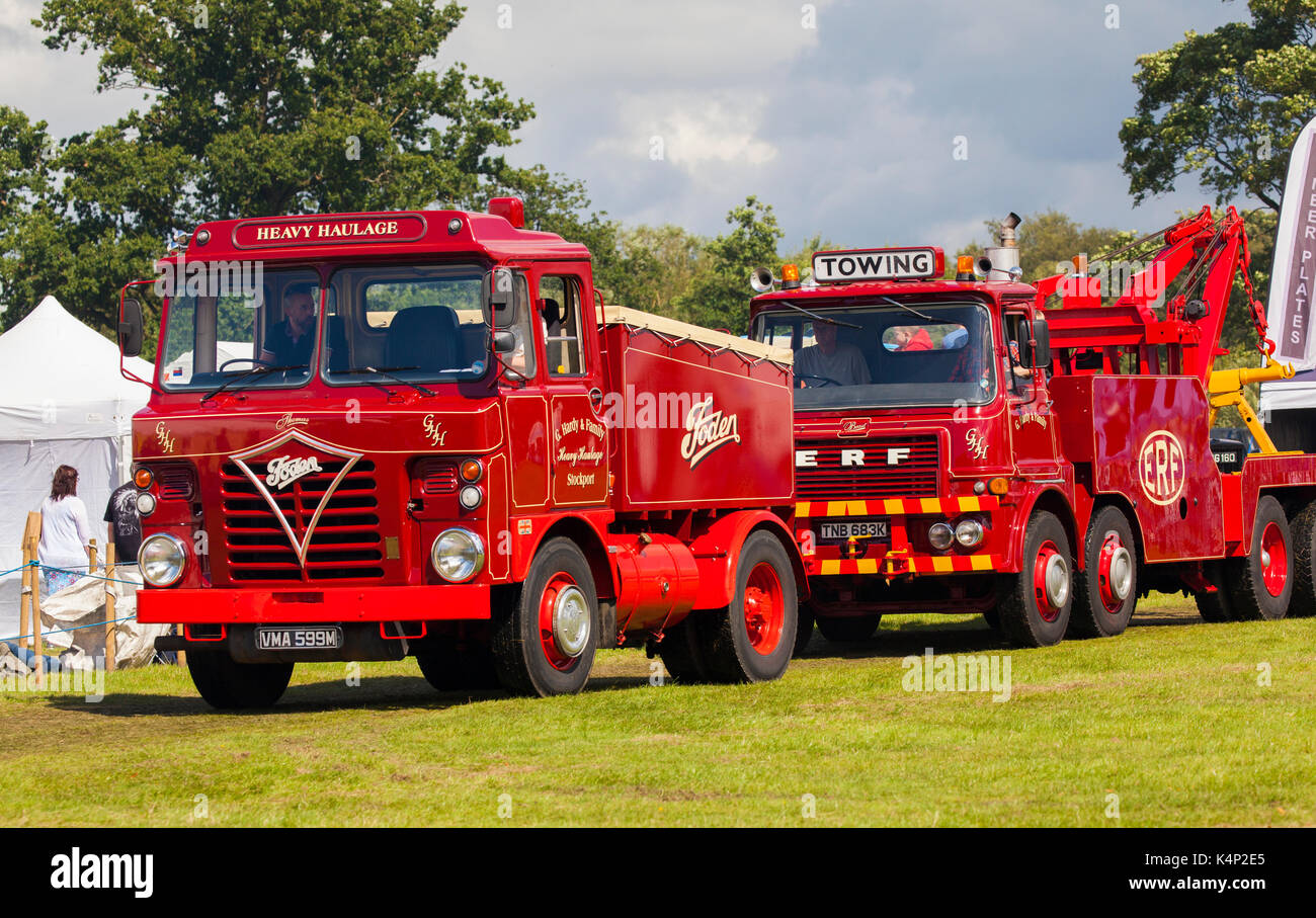 Foden and ERF breakdown trucks and heavy haulage vehicles  made in Sandbach Cheshire on display at Chelford steam rally Astle park Cheshire - Stock Image