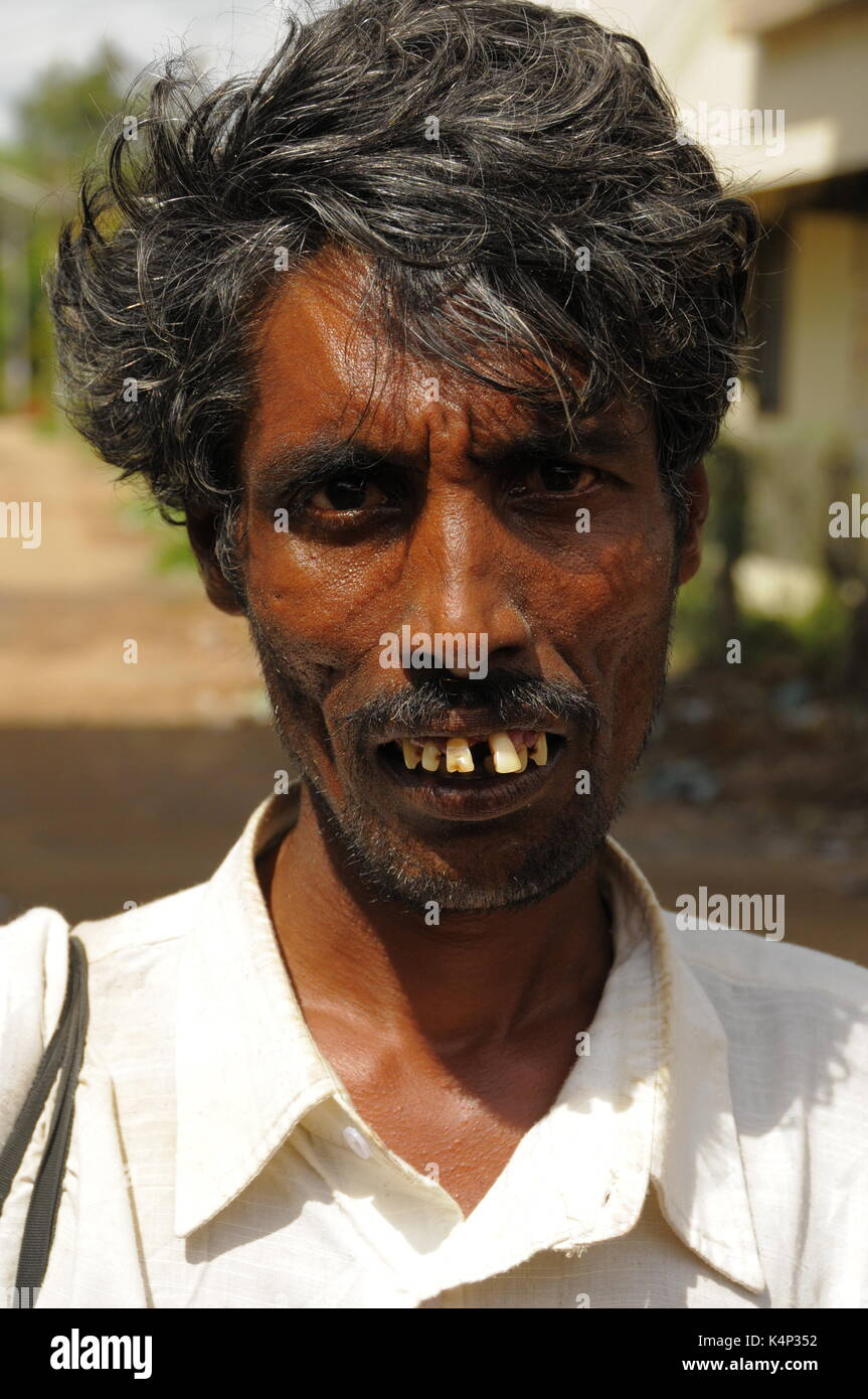 Portrait of a Dalit (untouchable) man from Kochi, India - Stock Image