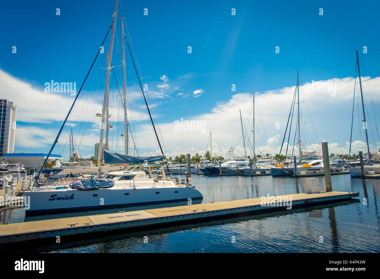 FORT LAUDERDALE, USA - JULY 11, 2017: A line of boats displayed for sale at the Fort Lauderdale Stock Photo