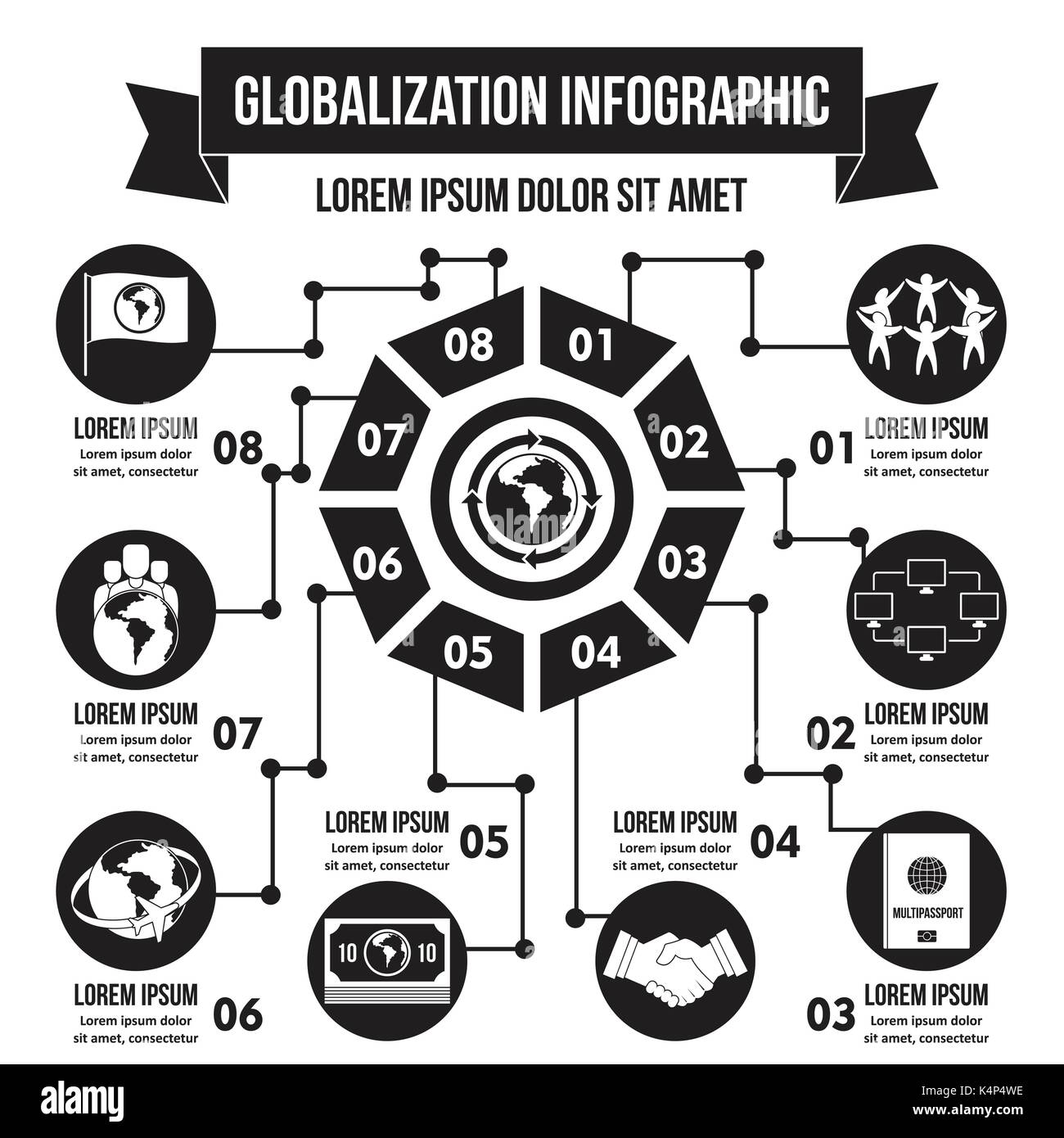 Globalization infographic concept, simple style - Stock Image