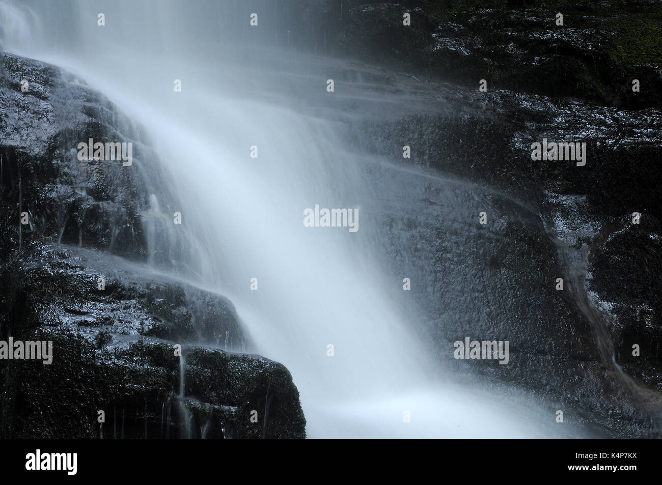 The tallest of the many falls on the Nant Bwrefwr. - Stock Image