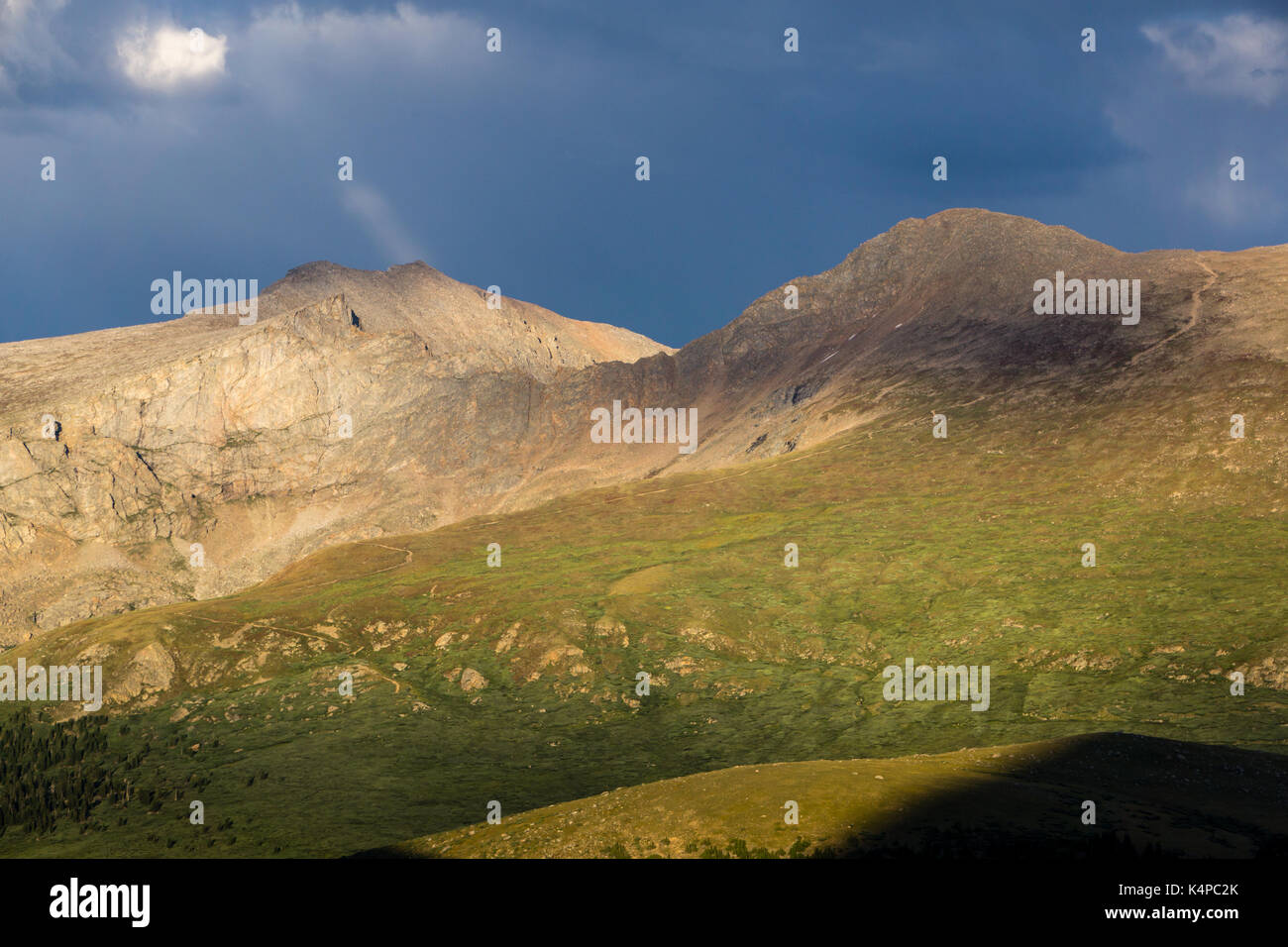 The hiking trail to the summit of Mount Bierstadt, one of Colorado's most popular 14ers. - Stock Image