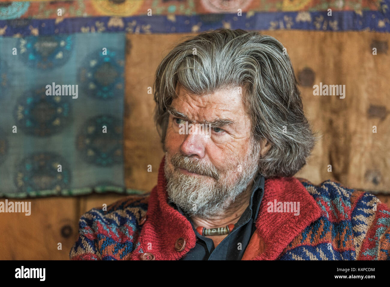 Alpinist Reinhold Messner at his Juval Castle in South Tyrol, Italy - Stock Image