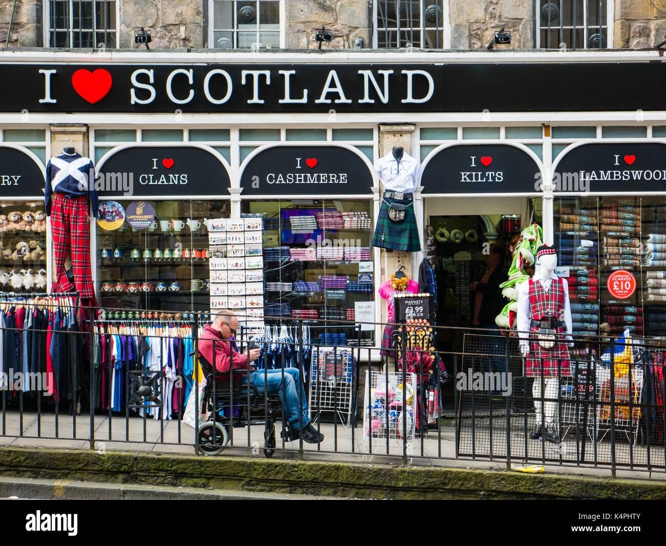 I Love Scotland, Tourist Shop, Edinburg, Scotland - Stock Image