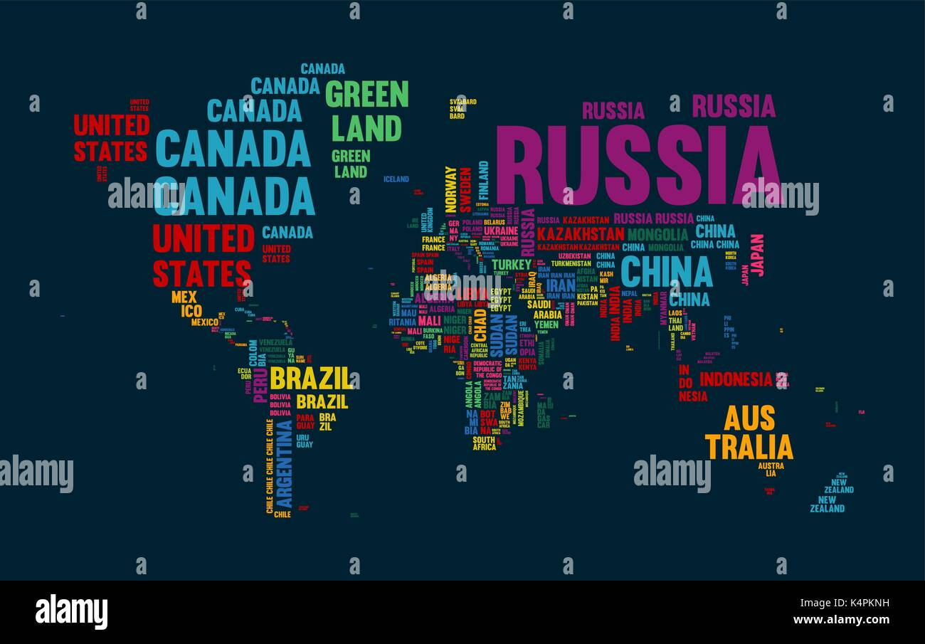 Typography color world map made of every country name concept text typography color world map made of every country name concept text atlas design with continent shapes eps10 vector gumiabroncs Choice Image