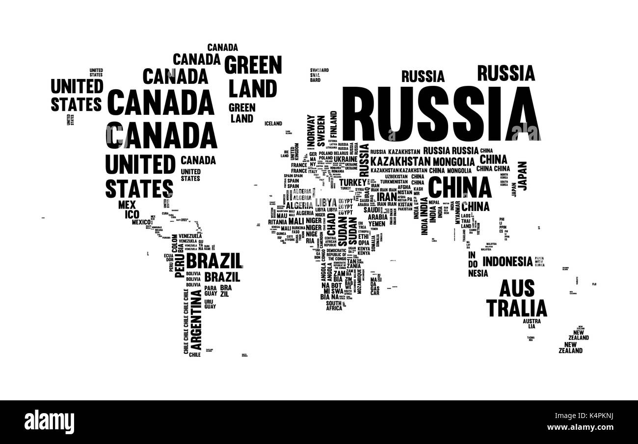 Typography world map made of every country name in black and white typography world map made of every country name in black and white concept text atlas design with continent shapes eps10 vector gumiabroncs Image collections