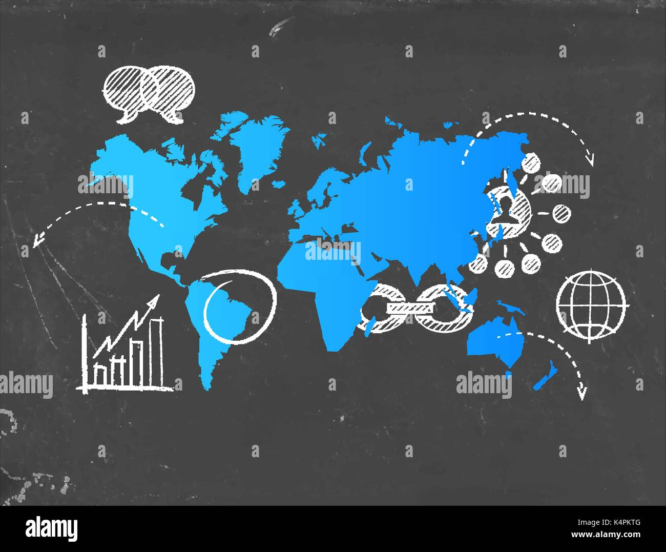 Social media world map template with modern internet business icons social media world map template with modern internet business icons drawn on blackboard international technology communication concept eps10 vector gumiabroncs Images