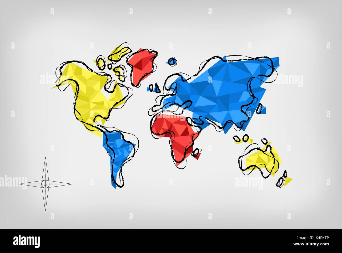 Modern world map illustration template in hand drawn style with modern world map illustration template in hand drawn style with colorful abstract low poly geometric shapes eps10 vector gumiabroncs Images
