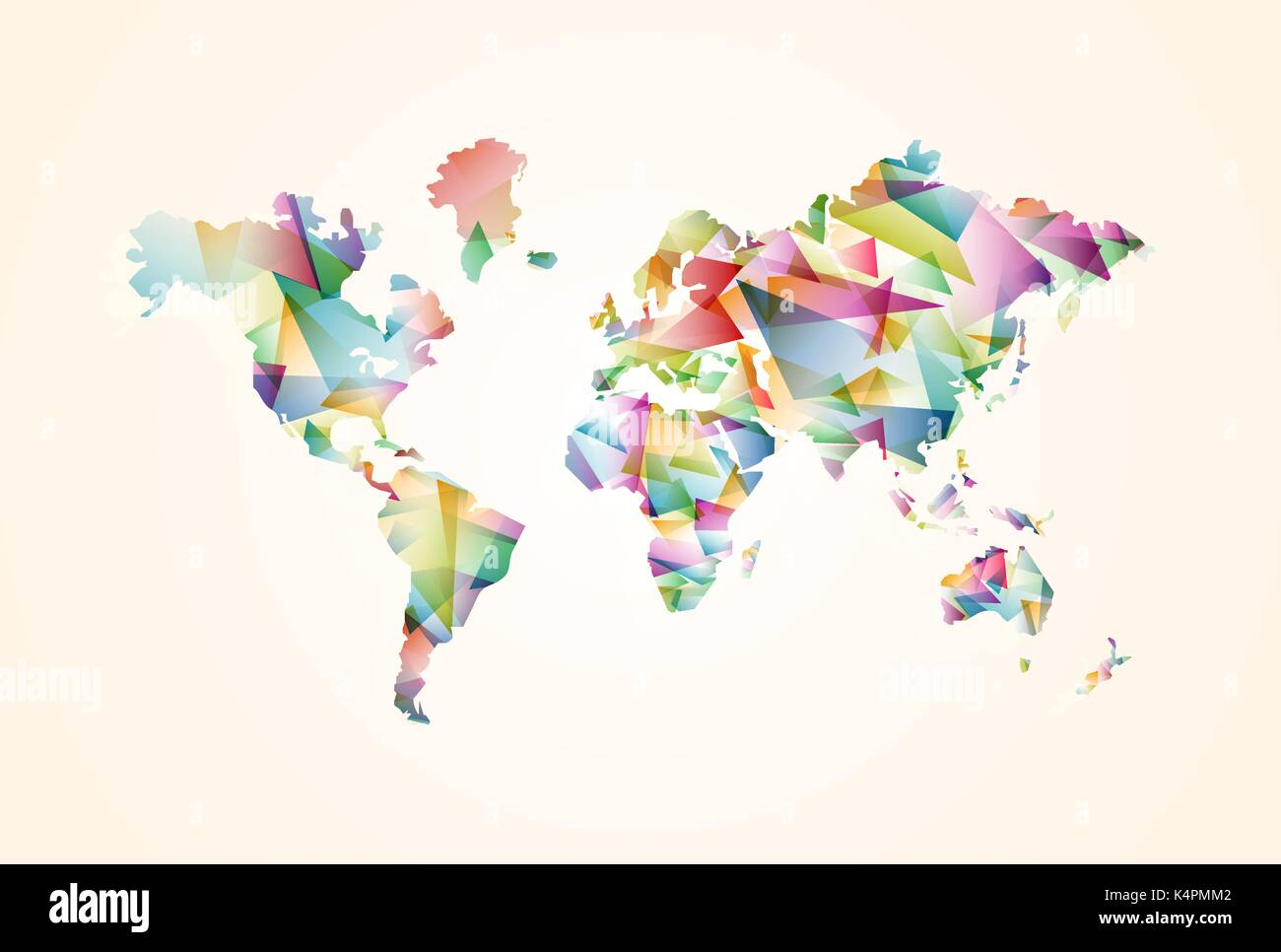 Abstract world map illustration template made of colorful abstract world map illustration template made of colorful transparent triangle shapes modern geometric planet silhouette eps10 vector gumiabroncs Gallery