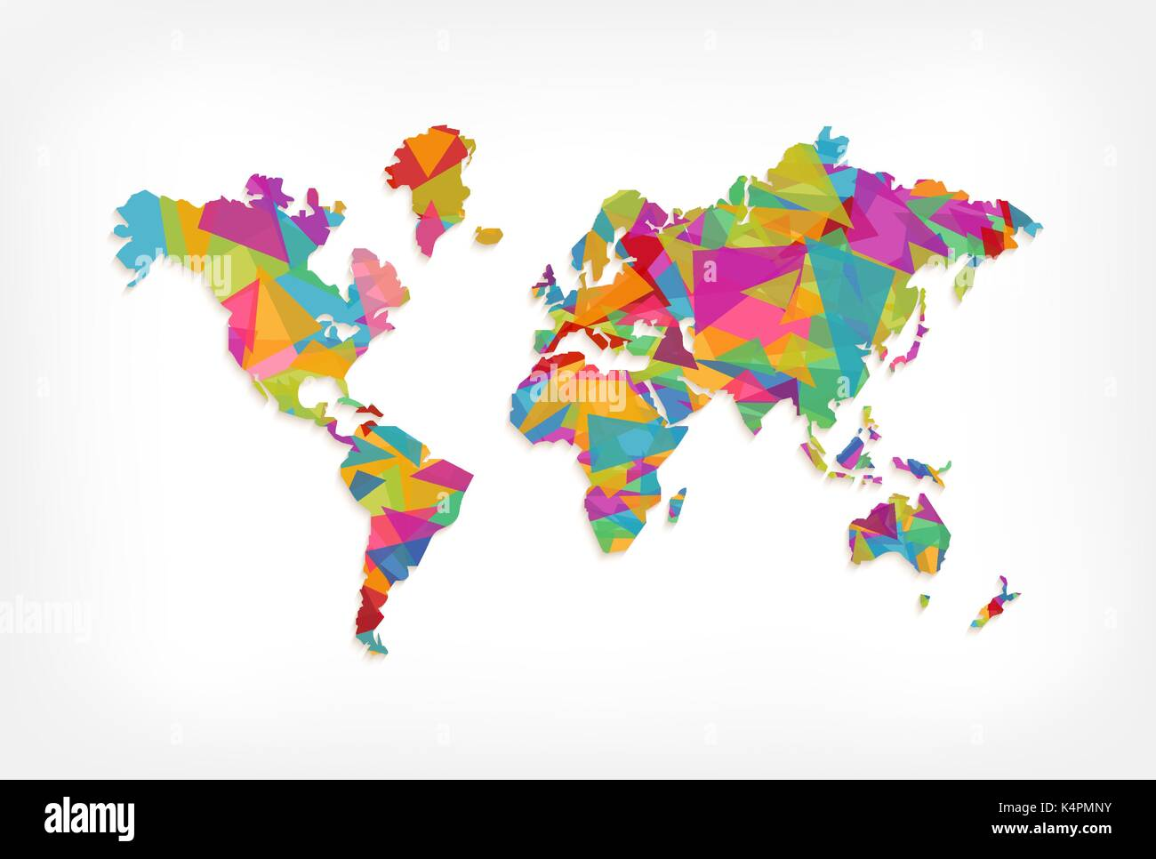 Abstract world map illustration template made of colorful triangle abstract world map illustration template made of colorful triangle shapes modern geometric planet silhouette eps10 vector gumiabroncs Gallery