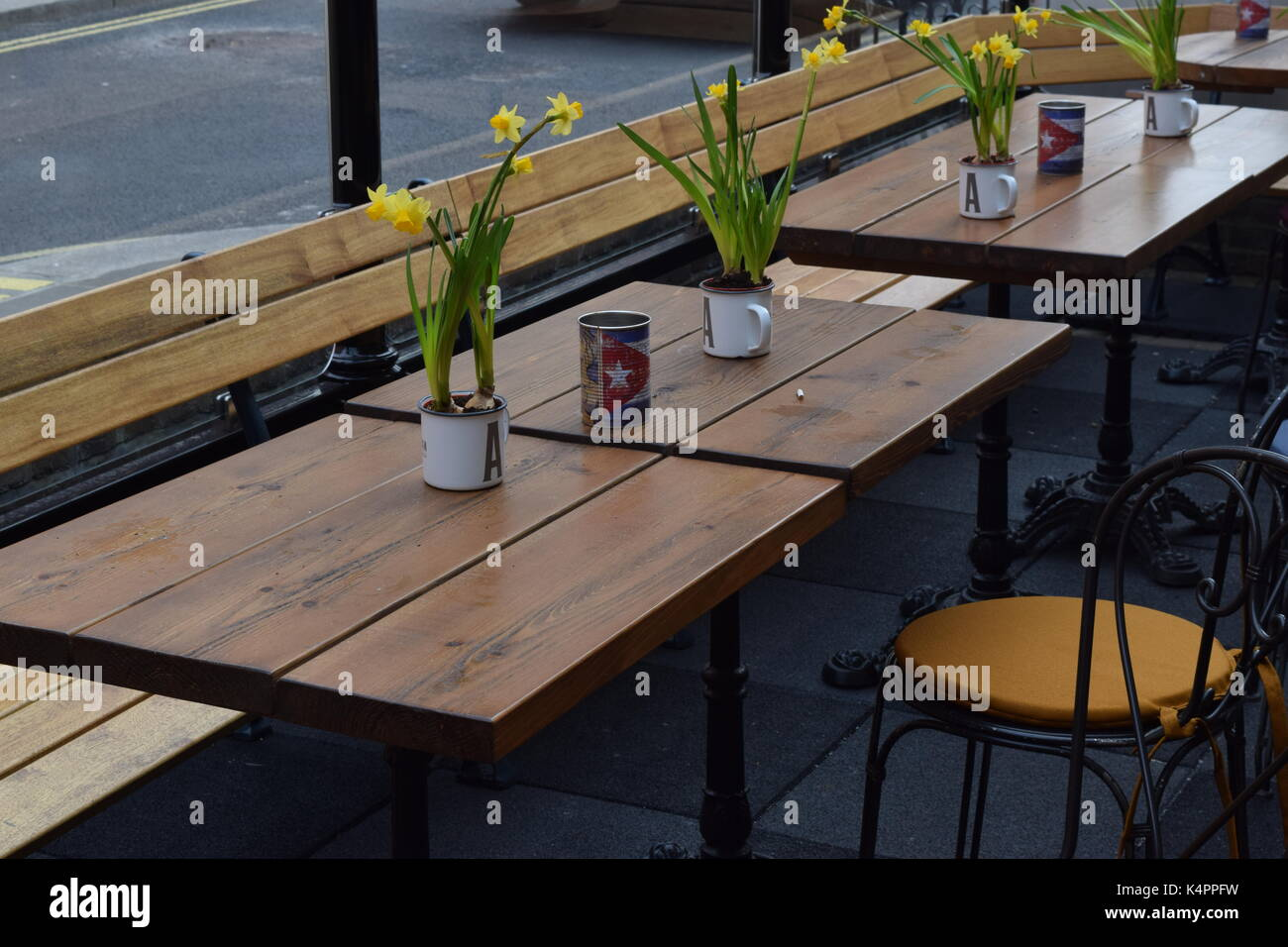 Modern oudoor seating at a restaturant Stock Photo