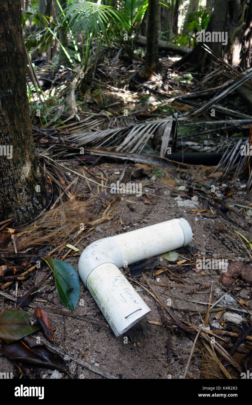 Poison bait intended for feral rats in PVC container, Lord Howe Island, NSW, Australia. No PR Stock Photo