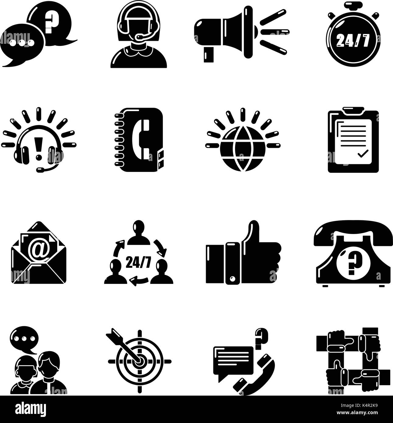 Call center icons set, simple style - Stock Vector