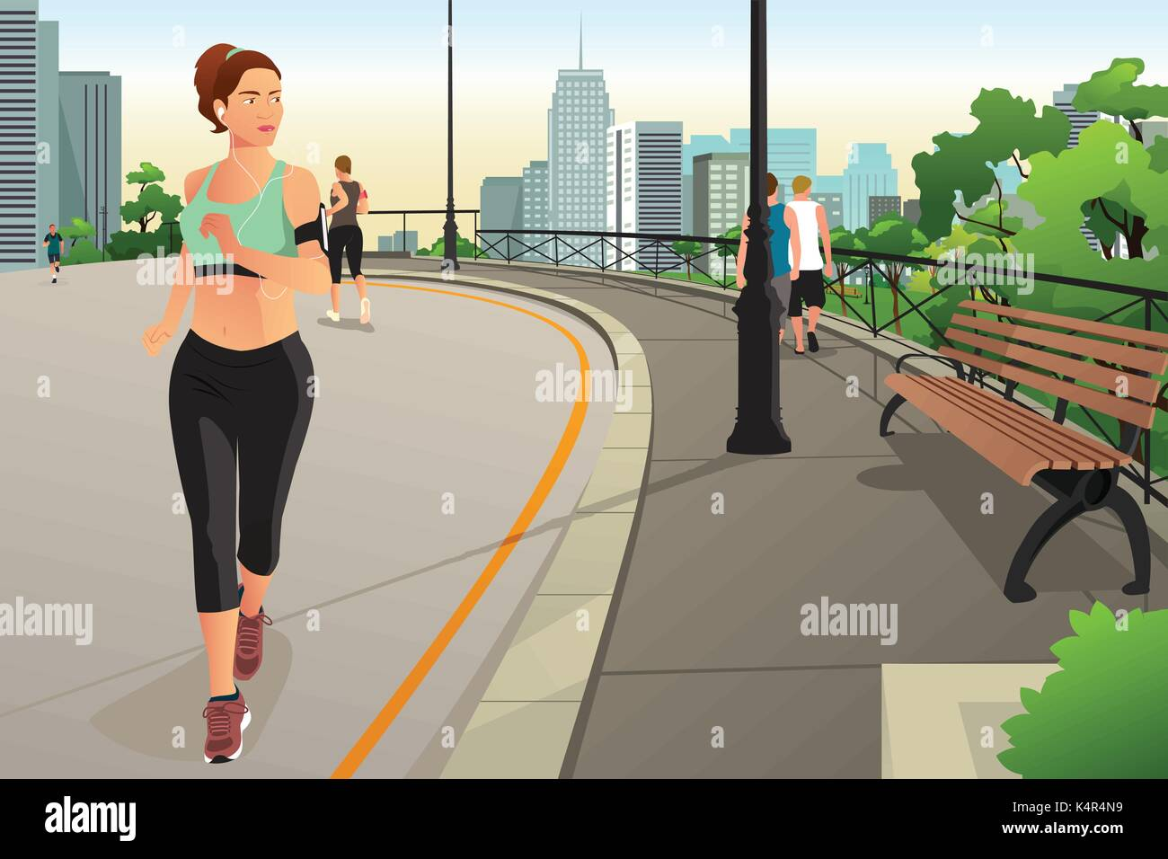 A vector illustration of Beautiful Woman Running in a Park in the City - Stock Vector