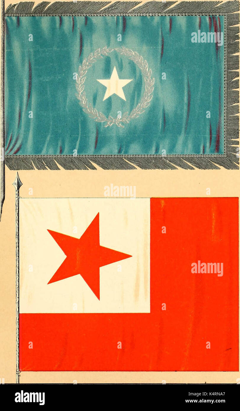 'Flags of the Army of the United States carried during the War of the Rebellion, 1861-1865, to designate the headquarters of the different armies, army corps, divisions and brigades' (1887) - Stock Image