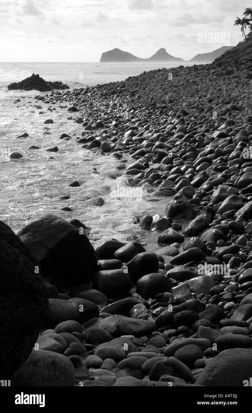 Pebble beach near Little Island, looking towards Mt Eliza, Lord Howe Island, NSW, Australia - Stock Image