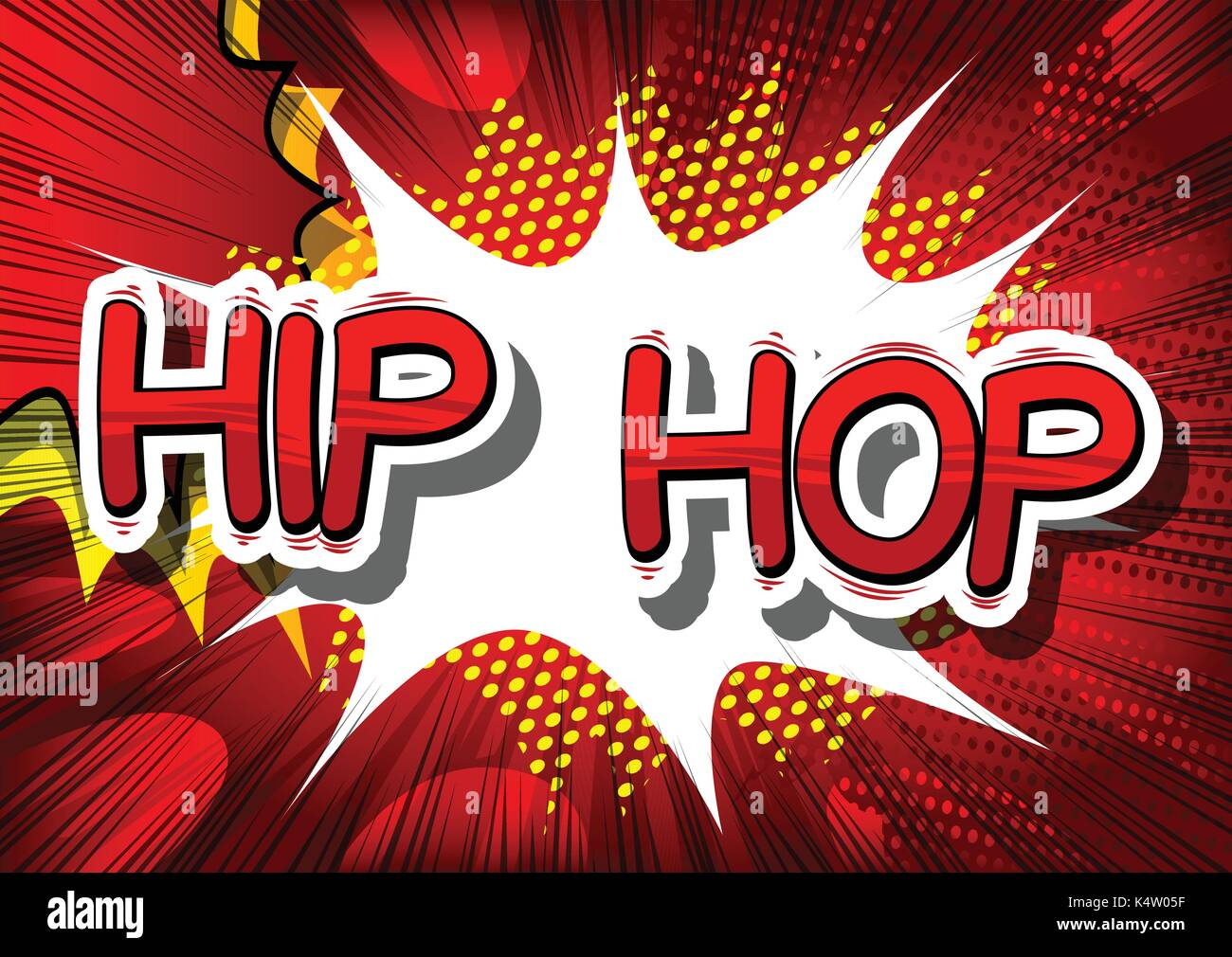 Hip Hop - Comic book word on abstract background. Stock Vector
