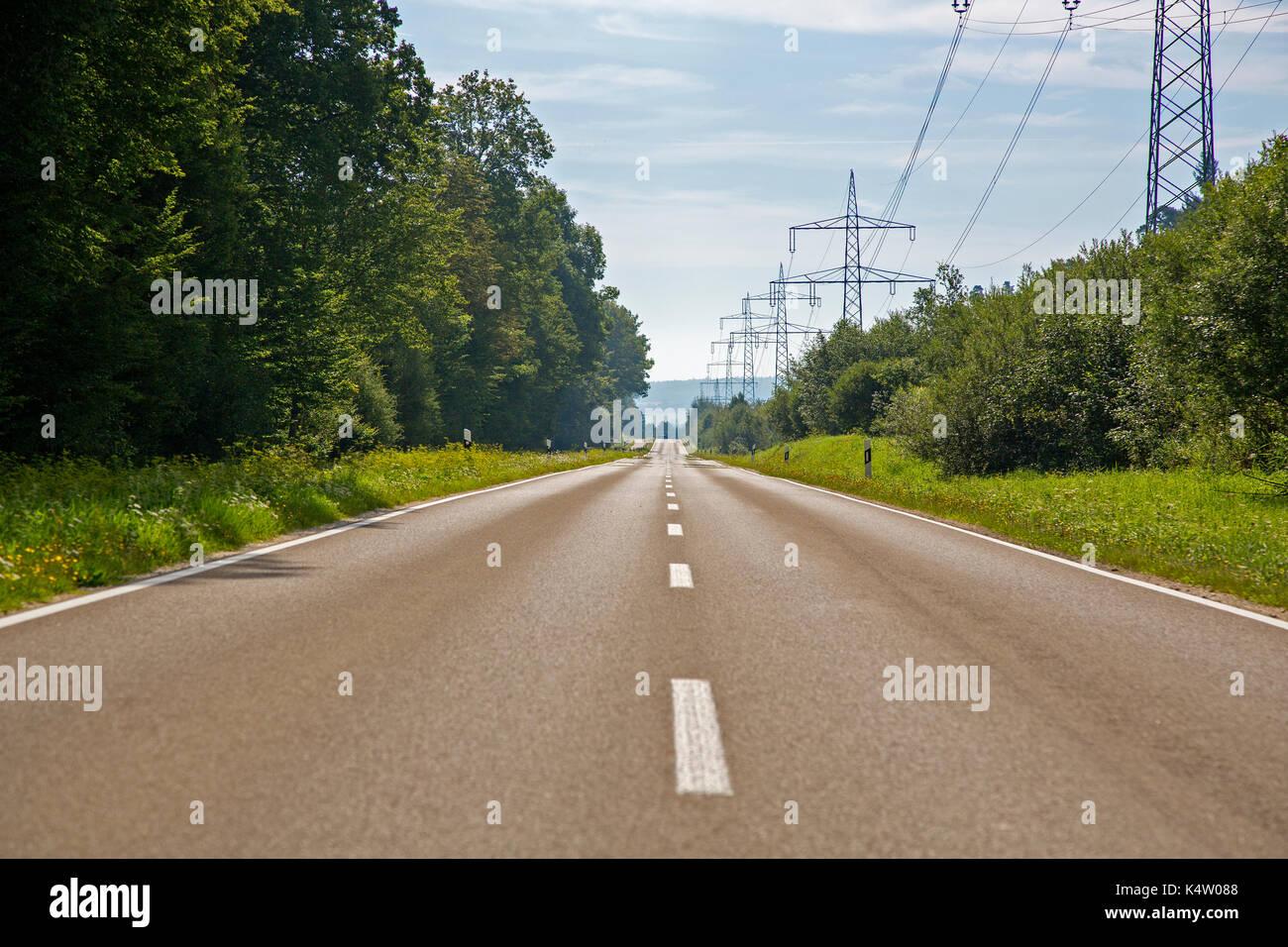 A long, straight (Roman) road near Memmingen, Bavaria, Germany Stock Photo