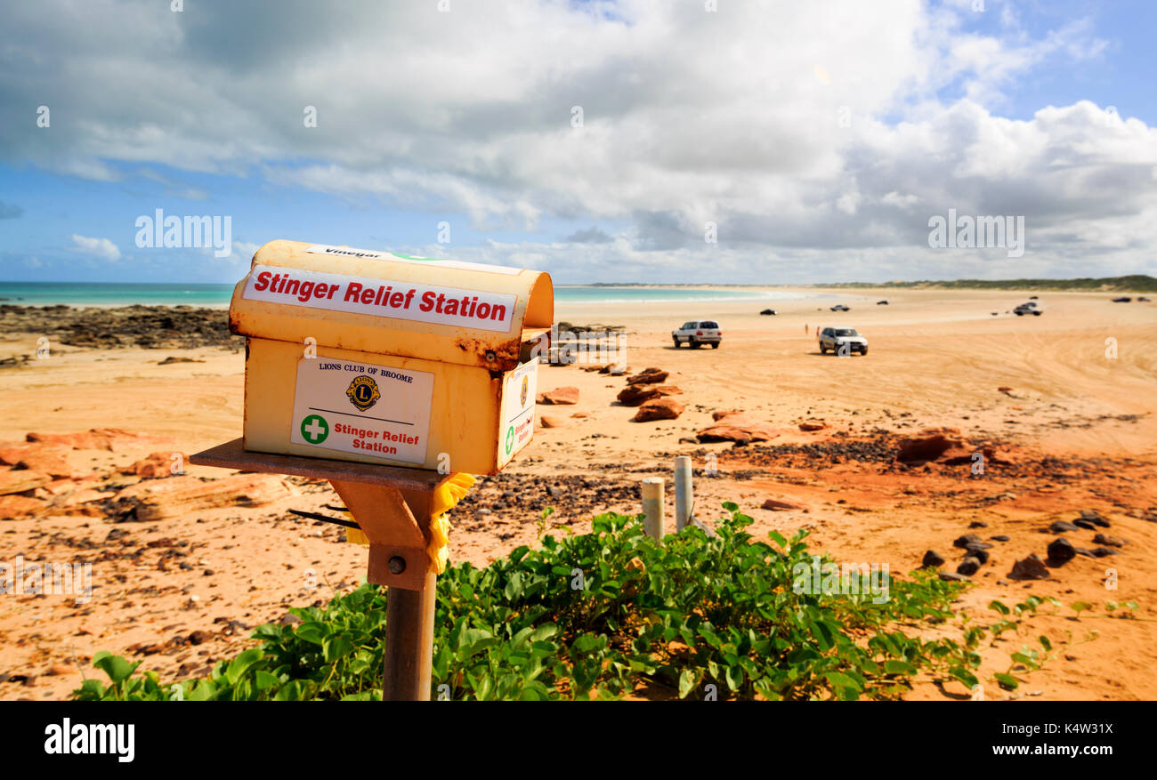 Stinger Relief Station containing vinegar for jellyfish stings at Gantheaume Point in Broome, Western Australia - Stock Image