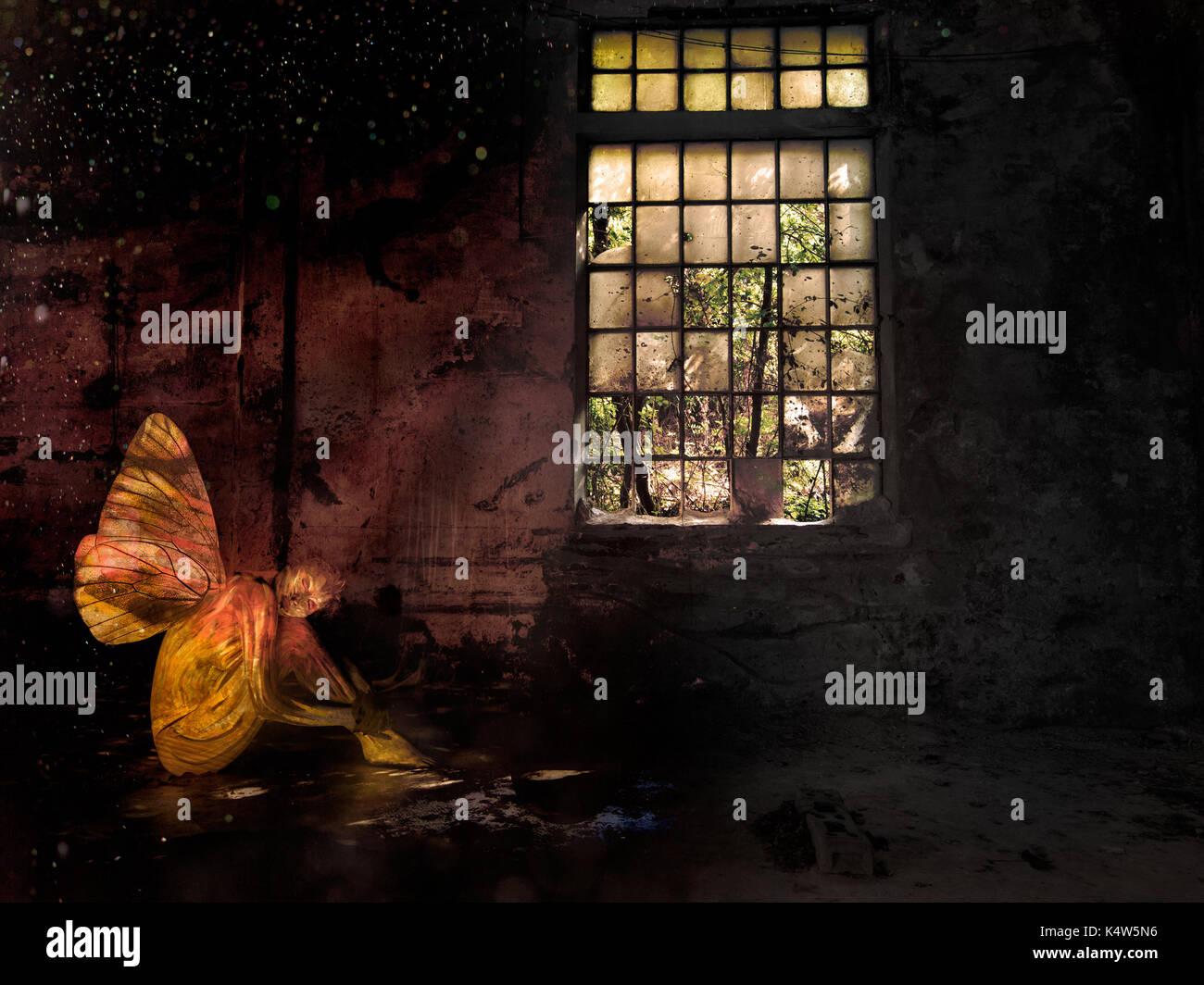 Sad image. Abandoned woman fairy. Bodypainted. - Stock Image