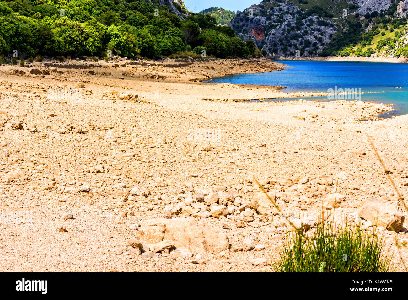 Almost dried out riverbed and cracked ground with stones in the background the last remnants of water. - Stock Image