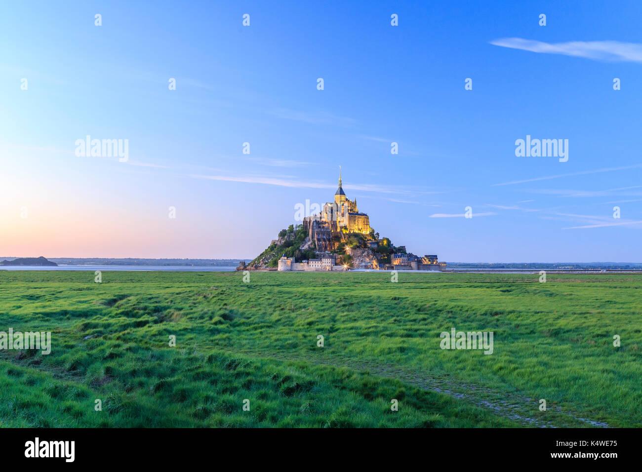 France, Manche (50), Baie du Mont Saint-Michel classée Patrimoine Mondial de l'UNESCO, le Mont Saint-Michel // France, Stock Photo