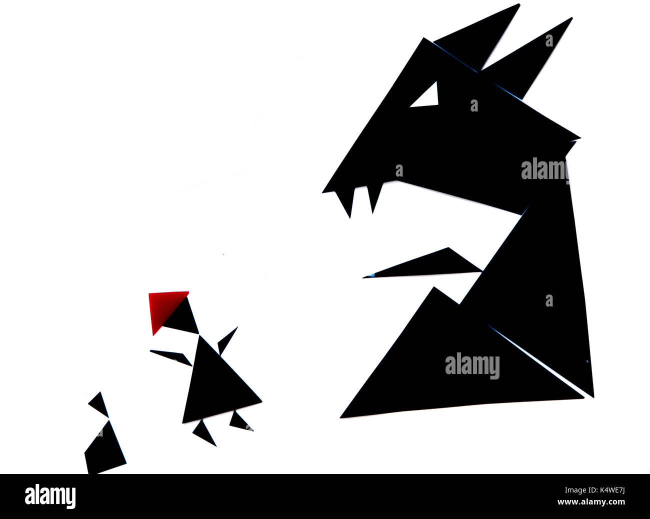 An abstract illustration of the red riding hood story with black and red triangles on a white background - Stock Image