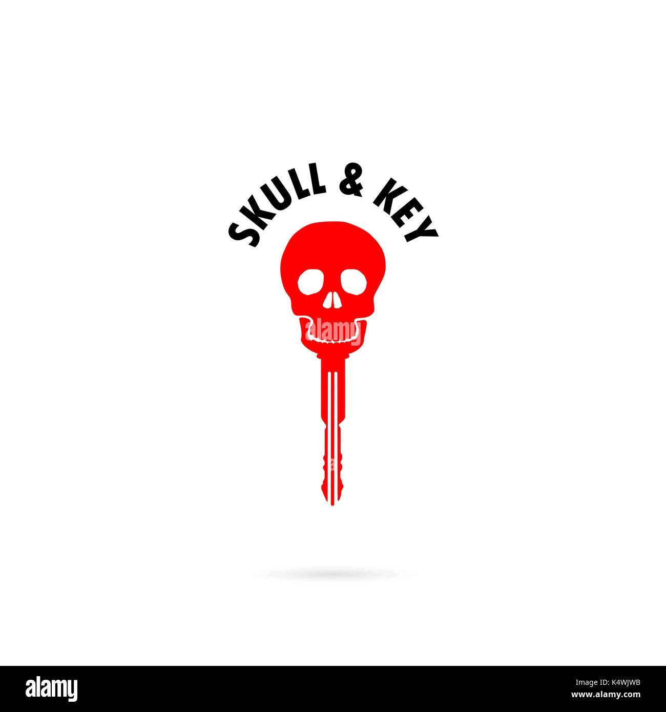 Human skull silhouettes and key icon.Human skull and key tattoo logo ...