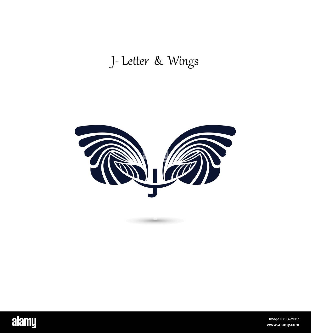 j letter sign and angel wingsmonogram wing vector logo templateclassic emblemelegant dynamic alphabet letters with wingscreative design elementco