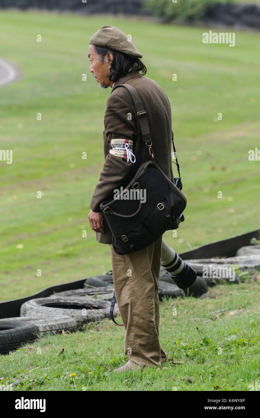 Lone Photographer in Period Dress at Goodwood Revival - Stock Image