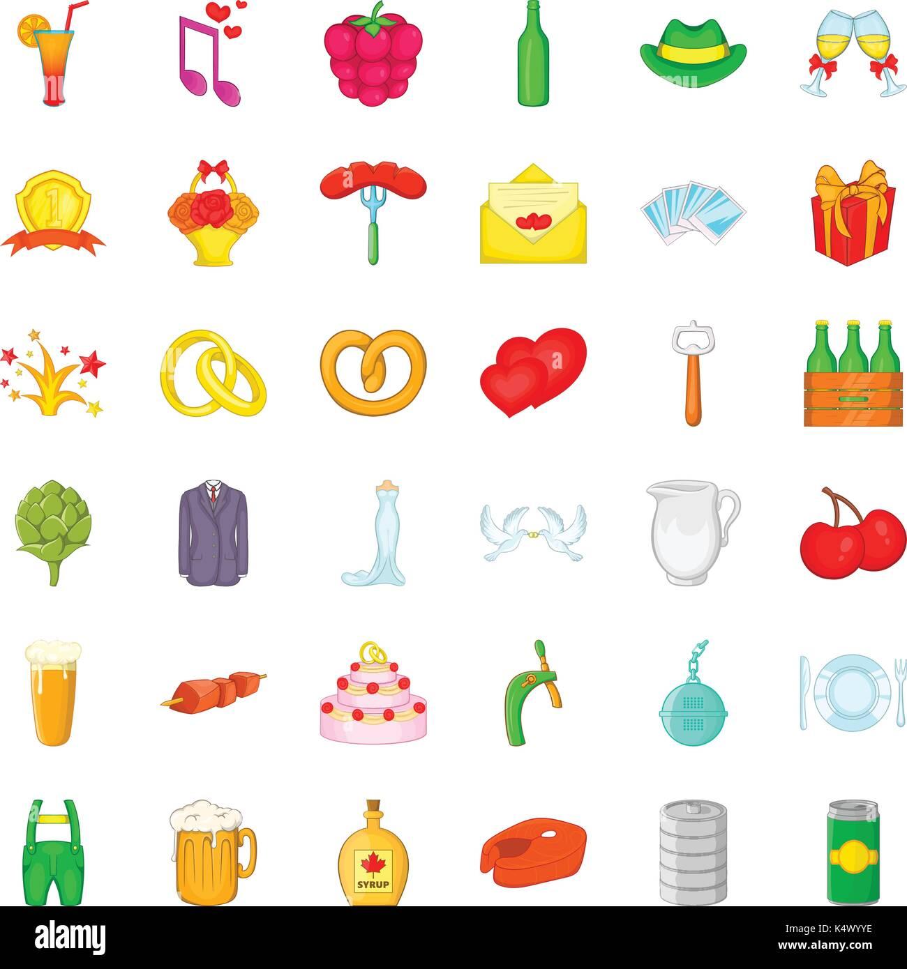 Basket icons set, cartoon style - Stock Vector