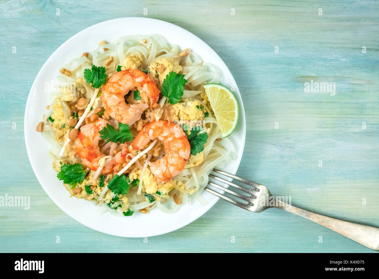 Shrimp Pad Thai closeup from above with copy space Stock Photo
